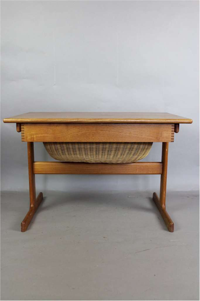 Danish Teak Mid-Century sewing table with drawer and wicker basket