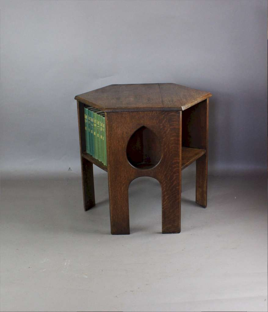 Arts and Crafts Movement oak book table Teardrop design