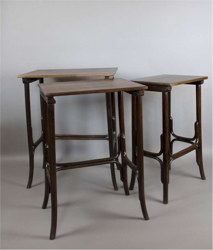 Nest of bentwood tables by Thonet