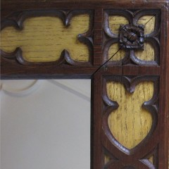 Gothic Revival frame gilt and oak mirror