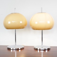 Two (near pair) 1970's lamps the chrome bases with mushroom coloured plastic shades. 20 in high x 12