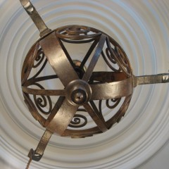 Arts and crafts iron hanging lamp