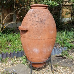 Large terracotta olive oil garden urn