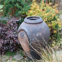 Large antique European olive terracotta garden urn measuring 84 cm high x 55 cm diam.