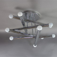 Pair of Italian 1970's designer ceiling lights in chrome