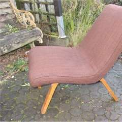 Modernist plywood chair with upholstered seat