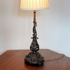 Fine decorative iron table lamp with foliate design