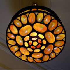 Wonderful mother of pearl shell and coloured glass hanging lamp shade