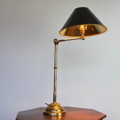 Edwardian adjustable library lamp in brass