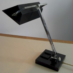 1930's Art Deco Desk lamp in black and chrome