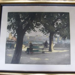 Gilt framed Provencal view lithograph signed by H. Callor 1930's measures 28in x 30 x 2  inches. Goo