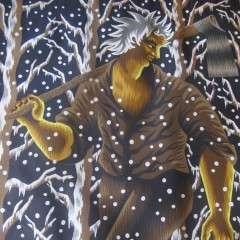 Striking print of a woodman in winter forest .