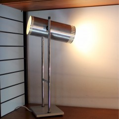 1970's stainless steel lamp with tilting cylindrical shade