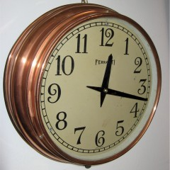 Ferranti copper circular wall clock from the art deco period.