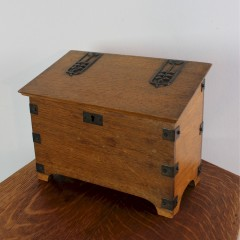 Arts and Crafts oak stationary box