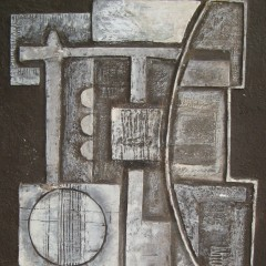 abstract plaster relief framed picture signed Betty D Shadwell 1974