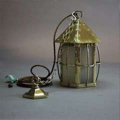 Arts and Crafts caged brass hall lantern