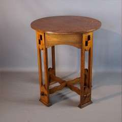Good arts and crafts oak and bold inlaid table