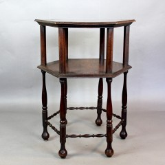 Arts and Crafts occasional table in oak with charming bobbin stretchers.