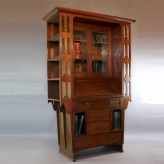 Arts and Crafts oak bureau bookcase