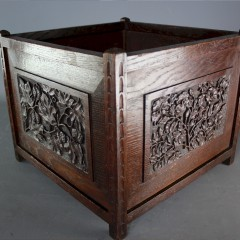 Arts and Crafts planter with carved sides