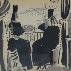 1960's watercolour, pen and ink of two Spanish ladies sitting on a balcony signed Ash 1967