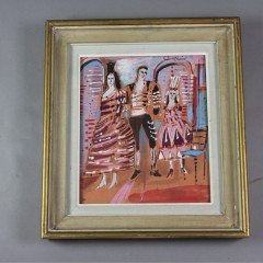 1960's gouache painting of three figures and a chair signed Ash 1967
