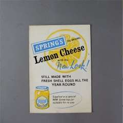 Vintage advertising card for Springs Lemon Cheese