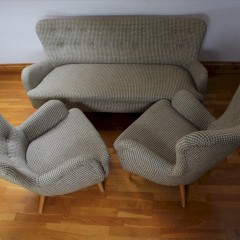 Ernest Race three piece suite. Museum quality original Ernest Race DA4 couch and two armchairs in or