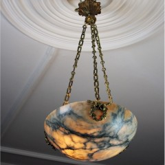 Lovely alabaster hanging shade with wonderful chains and ceiling rose