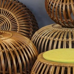Various Franco Albini wicker stools