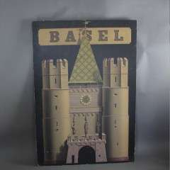Large travel poster on board for Basel Switzerland
