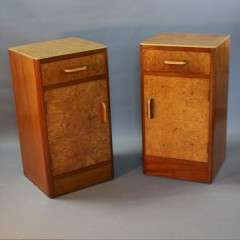 Art Deco pair of birds eye maple bedside cabinets