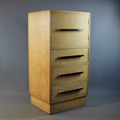 Modernist oak tallboy probably Bowman Bros