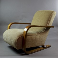 1930's cantilever bent oak armchair probably by Bowman Bros