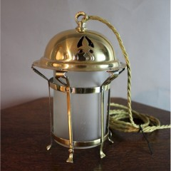 Arts and Crafts polished brass lantern