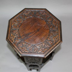 Arts and crafts carved oak occasional table
