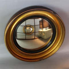 19th century Victorian gilt convex mirror