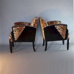 Art Deco pair of salon chairs wood trim and sides