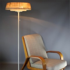 1950's stylish standard lamp with thin white painted metal stem on cruciform base
