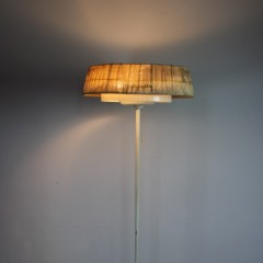 1950's st2lish standard lamp with thin white painted metal stem on cruciform base