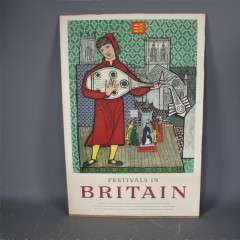1950's Festivals of Britain poster on board.
