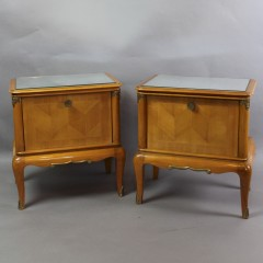 Pair of French 1950's satinwood and mirrored topped bedside cabinets