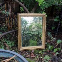 Antique rectangular French gilt wall mirror.