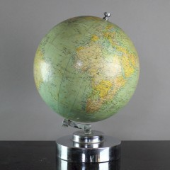 20th century French globe on chrome stand