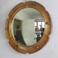 Oak scallop framed convex mirror by Heals