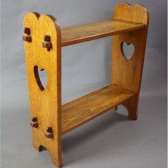 Arts and Crafts pegged  heart cut out side / book table c1900
