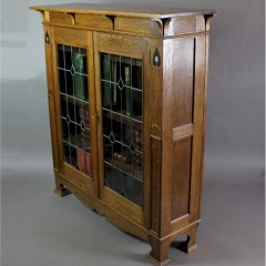 Arts and Crafts inlaid oak glazed bookcase