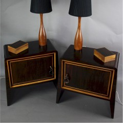 Pair of Italian macassar bedside cabinets c1950's