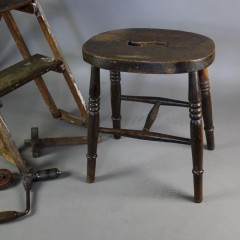 Vintage Elm kitchen / industrial stool with cut out hand grip c1920's